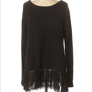 Worth New York Black Fringe Sweater Sz M :: YY13
